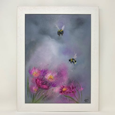 Alison McIlKenny Artist - 'Bees  in Summer Haze' Original Oil Painting on Canvas